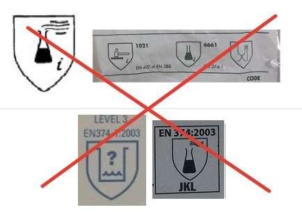 Стари маркировкиа на ръкавици за химическа защита