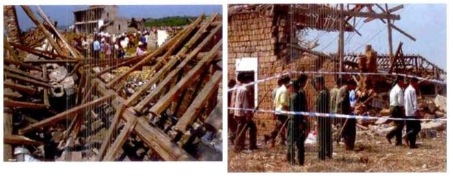 Фрагменти от разрушенията след експлозия на автомобил с 19,5 тона амониев нитрат в Shengangzhai, Китай