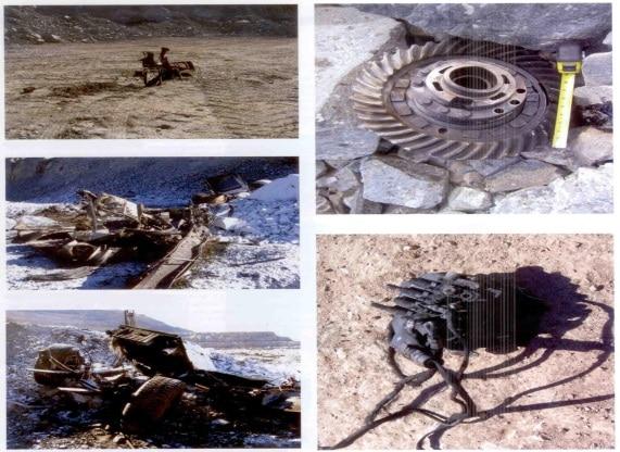 Фрагменти при експлозията на 5,1 тона емулсионен експлозив в меден рудник Меса, Аризона, САЩ по време на зареждане